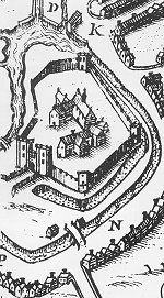 Speed's Map showing Hertford Castle, 1610