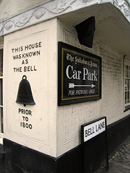Photo of Bell Lane sign by the Salisbury Arms Hotel