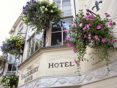 Hanging baskets outside The Salisbury Hotel